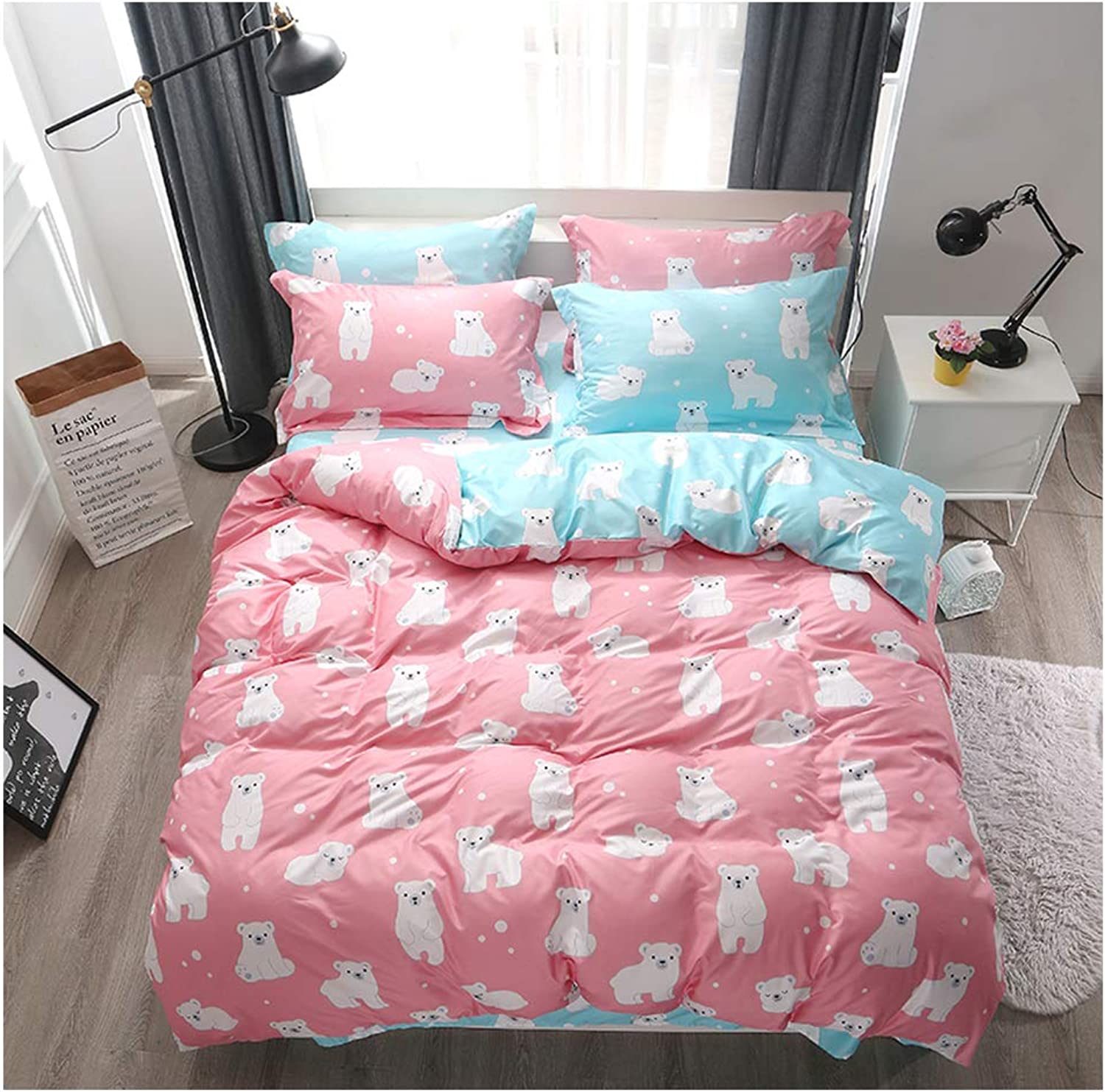 ORIHOME Bedding Set Twin Full Queen King Cute Little White bearprint- 4 Piece Bedding Sets - Teen Bedding for Girls Bedroom(Without Quilts) AJ (Cute Bear,bluee+Pink, Full,71''x87'')