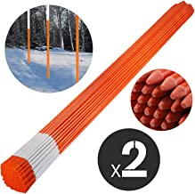 famico Driveway Marker 5/16-inch Diameter x 48-inches Snow Stakes Orange with Reflective Tape 200-Pack with Orange Cap Fiberglass Pole Stakes for Easy Visibility at Night
