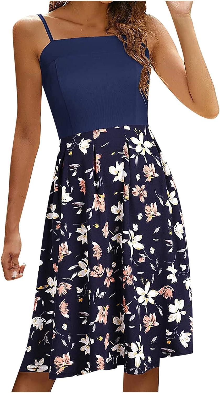 Summer Dresses for Women Casual Patchwork Sundress Tube Floral Graphic Print Cocktail Dress Sleeveless Midi Skirt
