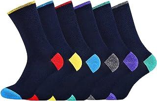 Men's Boys Socks Cotton Rich Coloured Toe Classic Pattern Calf Socks 6 Pack