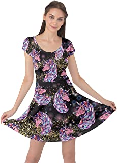 CowCow Womens Unicorns Rainbow Mermaid Space Short Sleeve Skater Dress, XS-5XL