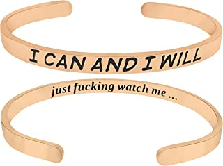 I Can and I Will Just F-ing Watch Me' Encouragement Cuff Bracelet, Stay Strong, Strength Bracelets for Women and Teens