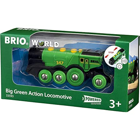 BRIO World Big Green Action Locomotive Battery Powered Wooden Train for Kids Age 3 Years and Up - Compatible with all BRIO Railway Sets