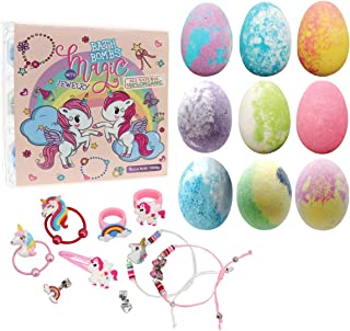 Unicorn Bath Bomb Gift Set with Jewelry Inside, 9 Pack Organic Bath Bomb Gift Set for Kids, Magic Unicorn Bath Bomb with J...