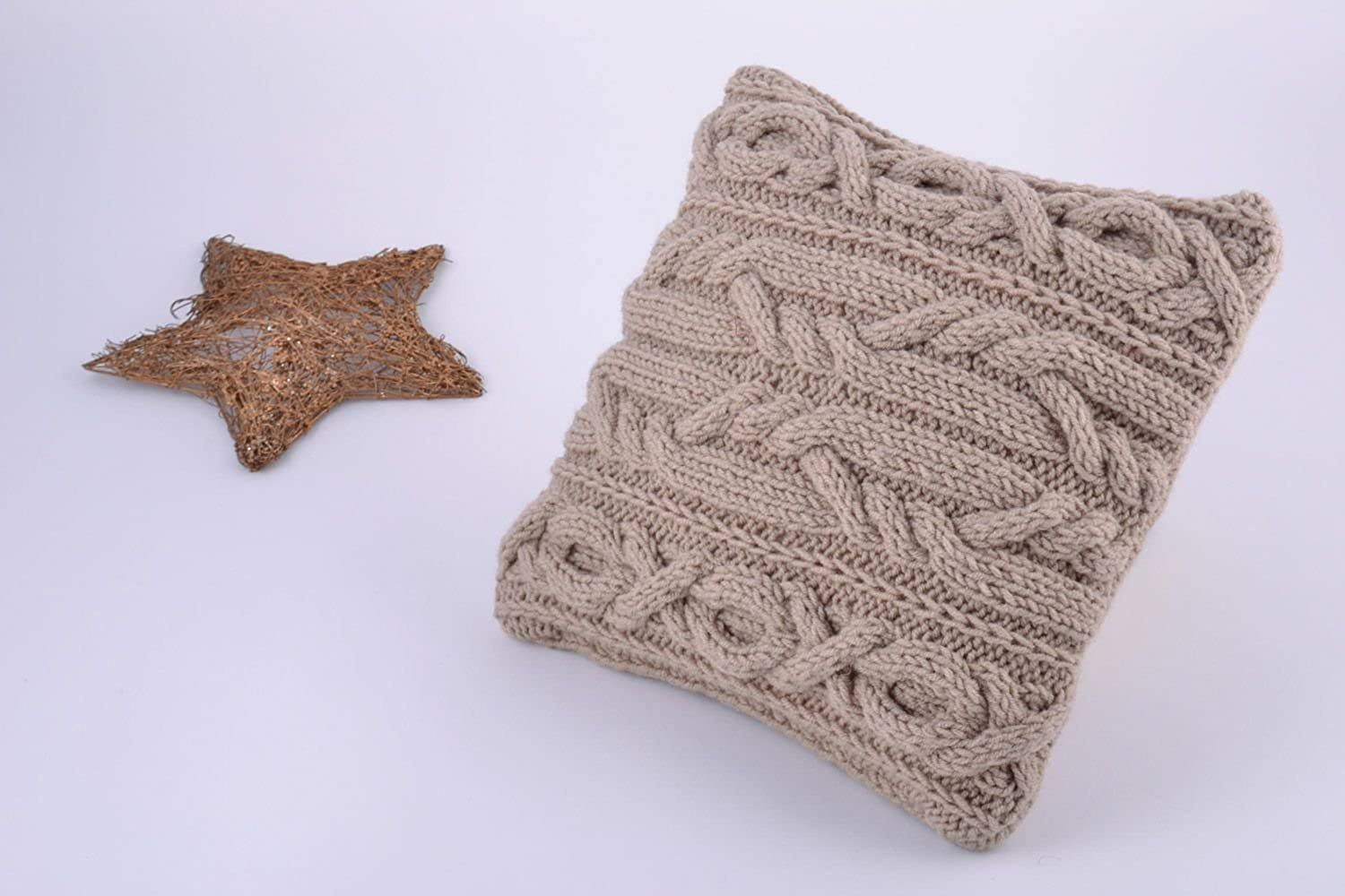 Handmade Semi Woolen Knitted Cushion Cover Of Coffee With Milk color With Zipper