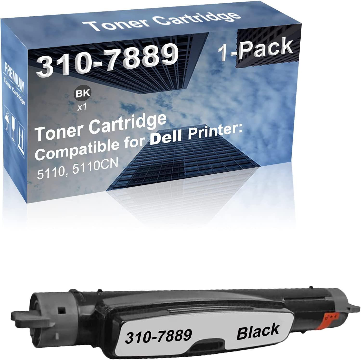 1-Pack (Black) Compatible High Capacity 310-7889 Toner Cartridge Used for Dell 5110, 5110CN Printer