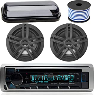 "Kenwood Bluetooth CD Radio Receiver In-Dash Marine Boat Audio Bundle with Pair of Enrock 6.5"" Dual-Cone Stereo Speakers, Stereo Waterproof Cover, 18g 50ft Speaker Wire (Black / Chrome)"