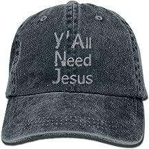 PYH0kox Y'all Need Jesus Hat Snap-Back Hip-Hop Cap Baseball Hat Head-Wear Cotton Trucker Hats Asphalt