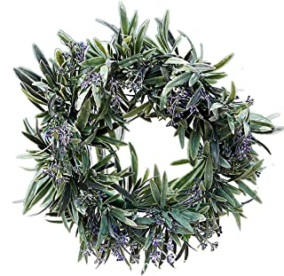 Lavender Wreaths Decor - 11'' Spring Decorative Fake Flower Wreath with Lavender and Green Leaves for Front Door Office Wall Garden Wedding DIY