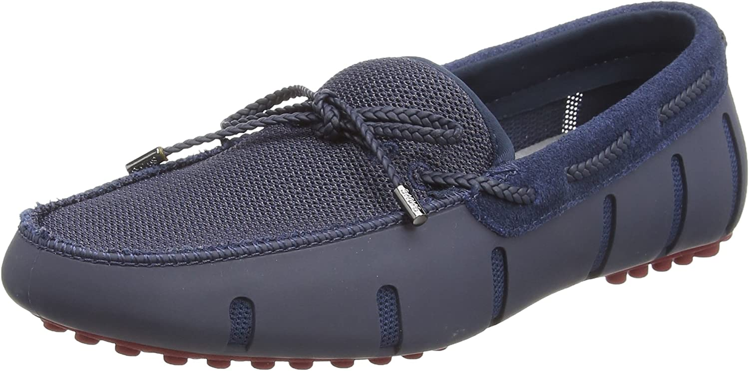 Swims Braided Lace Lux Loafer Driver shoes in Navy & Deep Red