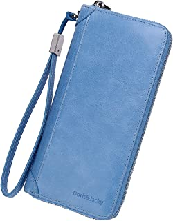 Women Zipper Genuine Leather Wallet RFID Blocking Large Capacity Purse with Wrist Strap (Sky Blue)