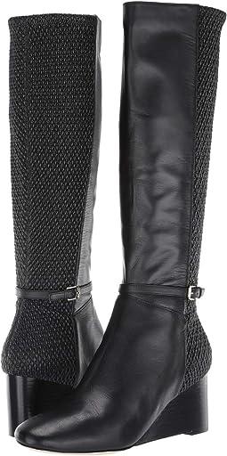 Black Leather/Stretch Quilt/Black Stack