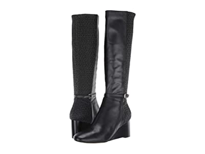 Cole Haan Lauralyn Stretch Wedge Boot 65 mm (Black Leather/Stretch Quilt/Black Stack) Women