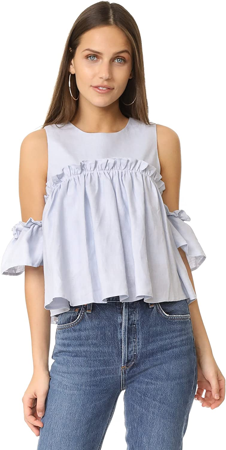 JOA Women's Short Layered Cold Top Shoulder 2021 autumn Popular and winter new Ruffle