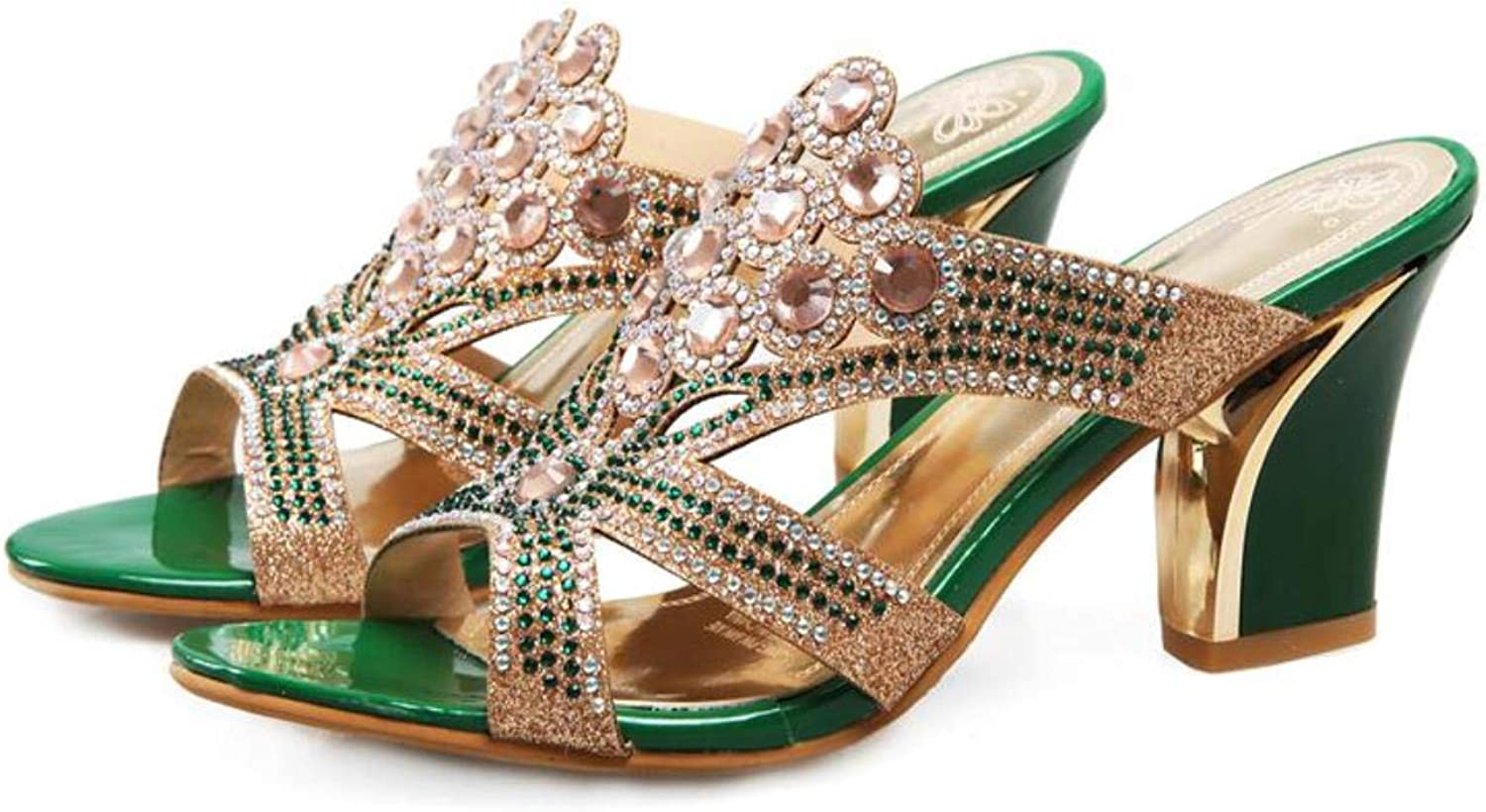 Summer Women Sandals Rhinestone Two colors Ladies High Heels