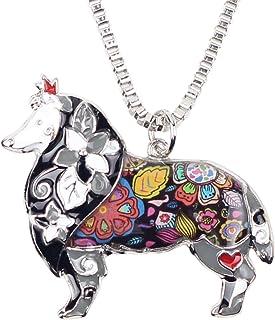 "BONSNY Love Heart Enamel Zinc Alloy Metal Sheltie Rough Collie Necklace Dog Animal Pendant 18"""