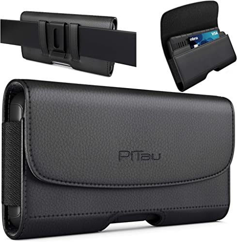PiTau iPhone Xs Max Holster, iPhone 8 Plus 7 Plus Belt Clip Case, Premium Leather Holster Pouch Case with ID Card Hol...
