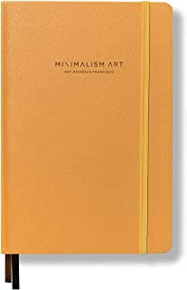 "Minimalism Art, Premium Hard Cover Notebook Journal, Large, Composition B5 7.6"" x 10"", Squared Grid Page, Golden Yellow, 234 Numbered Pages, Gusseted Pocket, Ribbon Bookmark, Ink-Proof Paper 120gsm"