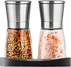 Salt and Pepper Shakers with Silicon Stand (2 pcs) - Premium Salt and Pepper Grinder Set with Adjustable Ceramic Coarsenes...