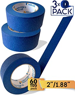 Blue Painters Tape for Walls/2inch Masking Tape/3Pack of 60 yards wall tape/180 yards Total/ECO Friendly, Wall Safe, UV Resistant, Indoor-Outdoor, Multisurface use for painting lines