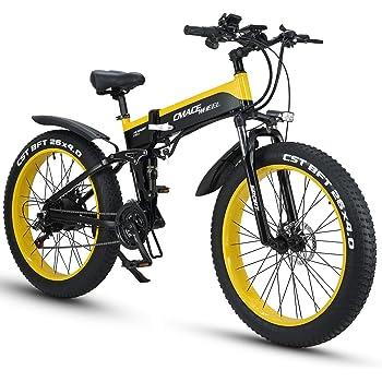 XXCY X26 1000w Bicicleta Híbrida Eléctrica 26 Pulgadas Fat Bike 48v 12.8ah Moto De Nieve Plegable Ebike (Amarillo): Amazon.es: Deportes y aire libre