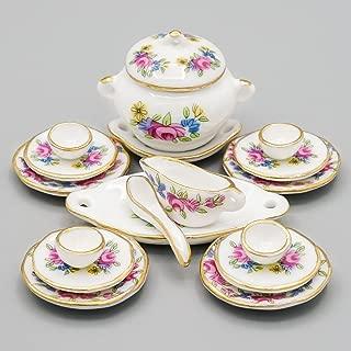 Odoria 1:12 Miniature 18PCS Porcelain Tableware Pink Rose Dollhouse Kitchen Accessories