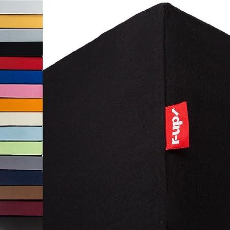 r-up Lot de 2 draps-housses de 140 x 200-160 x 220 à 35 cm - Hauteur : 95 % coton / 5 % élasthanne - 230 g/m² - Certifié Öko-Tex - Sans stress - Convient également pour les matelas hauts (noir)