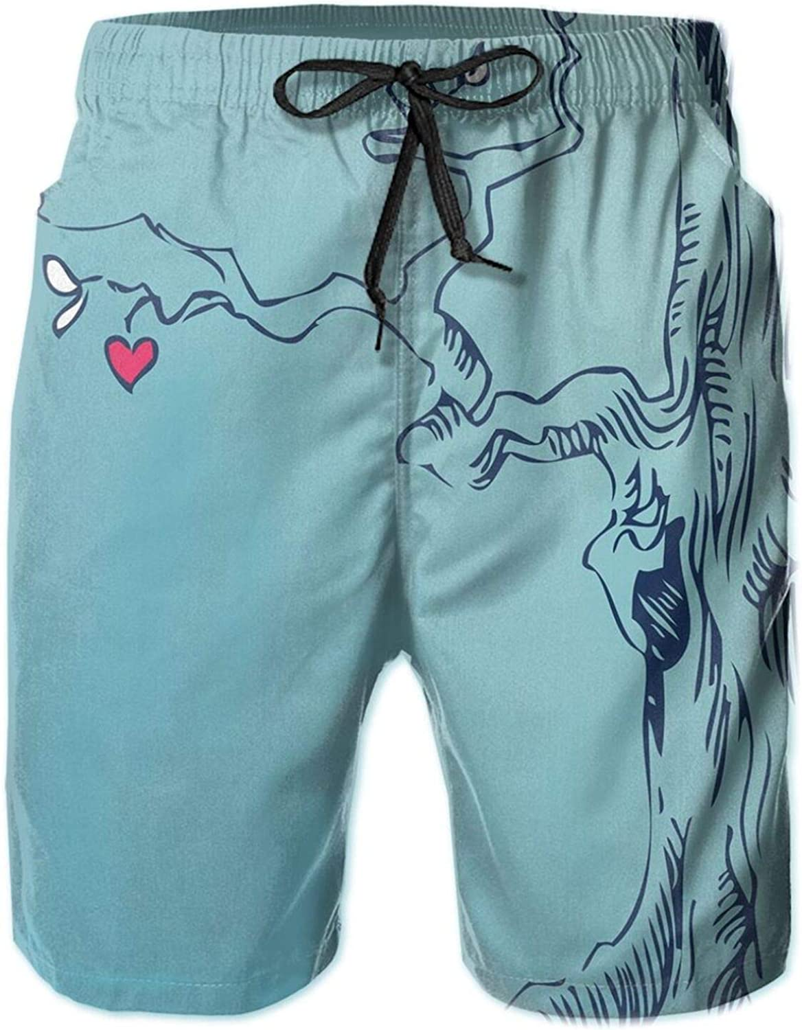 Hand Drawn Tree with Hearts and Leaves Branches Sketch Style Mother Earth Art Print Mens Swim Shorts Casual Workout Short Pants Drawstring Beach Shorts,M