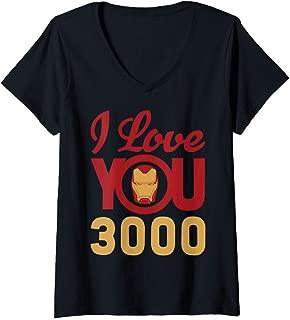 Womens Marvel Avengers Endgame Iron Man I Love You 3000 Helmet Logo V-Neck T-Shirt