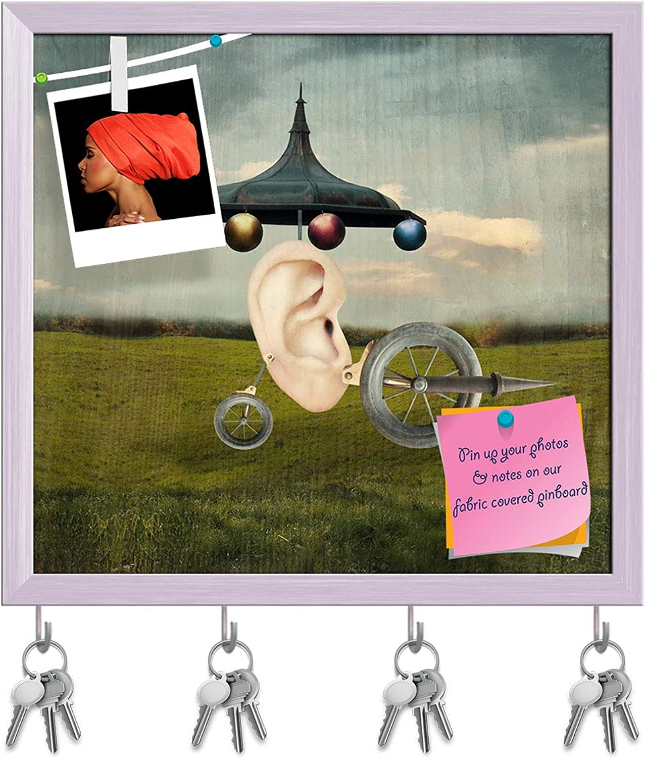 Artzfolio Human Ear with Surreal Wheels Key Holder Hooks   Notice Pin Board   White Frame 17.1 X 16Inch