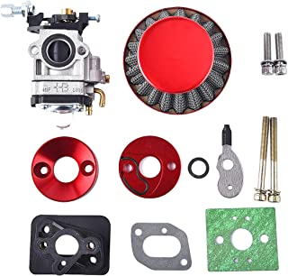 15mm Carburetor Upgrade Kit Air Filter Set Compatible with 2 Stroke 43cc 47cc 49cc Standup Gas Scooter ATV Quad Pocket Bike X-TREME XG-550 BladeZ Moby X Red