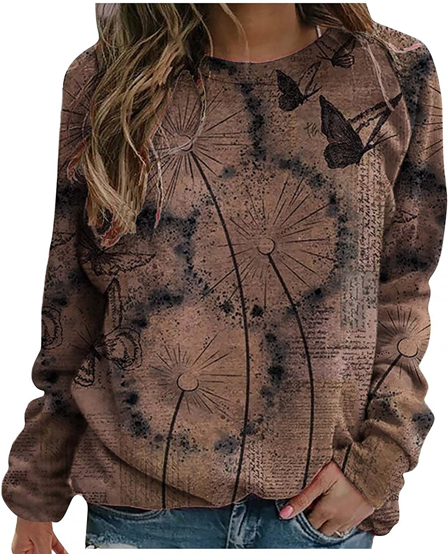 POLLYANNA KEONG Long Sleeve Tee Shirts for Women,Womens Vintage Crewneck Long Sleeve Sweatshirts Loose Slouchy Shirts