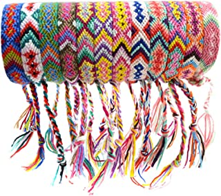 obmwang 12 Pieces Woven Friendship Bracelets Handmade Braided Bracelets with Tether Designs for Kids, Girls, Women and Men...
