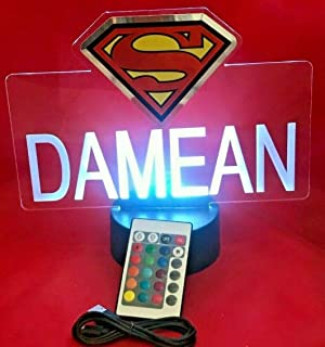 Superman Superheros Light Up Lamp LED Personalized with Name Night Light Engraved Table Lamp, Our Newest Feature - It's Wow, with Remote, 16 Color Options, Dimmer, Free Engraved, Great Gift