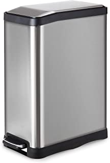 HomeZone Stainless Steel 45-Liter/ 12 Gallon Rectangular Step Kitchen Trash Can, Single Compartment