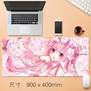 88GSQ Hatsune Miku Gaming Mouse Pad Cherry Blossoms, Pink Hair Big Table Mat Size Comfortable Feel Slip Lock Laptop Keyboa...