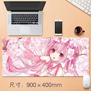88GSQ Hatsune Miku Gaming Mouse Pad Cherry Blossoms, Pink Hair Big Table Mat Size Comfortable Feel Slip Lock Laptop Keyboa...