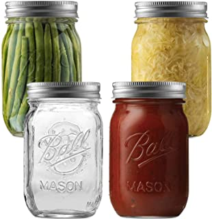 Ball Regular Mouth Mason Jars (16 oz/Capacity) [4 Pack] with Airtight lids and Bands. For Canning, Fermenting, Pickling, Decor - Microwave And Dishwasher Safe. Bundled With SEWANTA Jar Opener