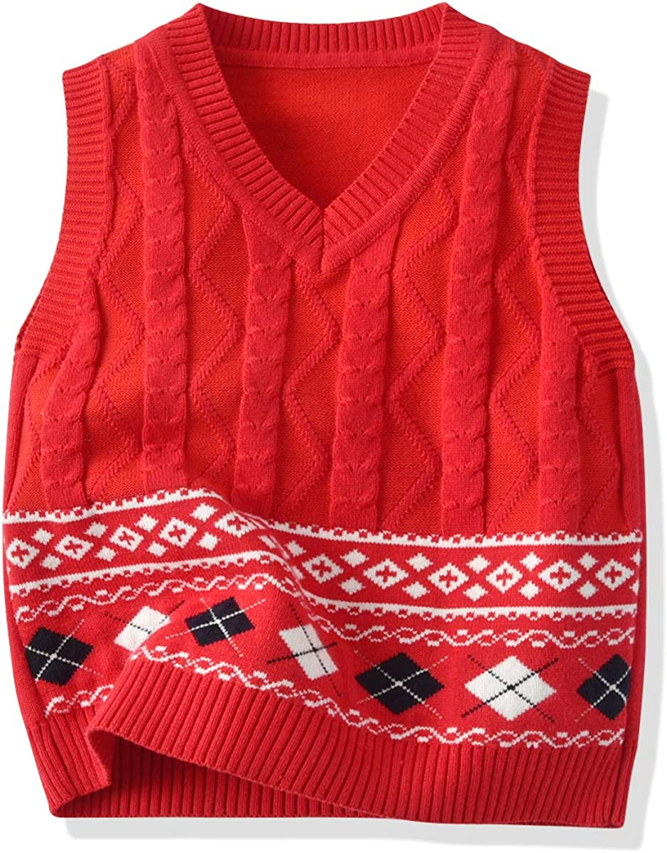 Softcomfy Toddler Kids Baby Girls Boys Knit Vest Sleeveless Knitted Sweater Fall Winter Clothes