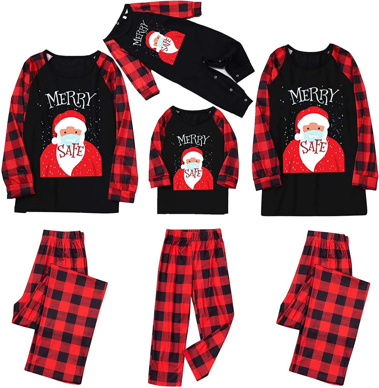 Goldweather Christmas Family Matching Pajamas Santa Claus Long Sleeve Xmas Pjs Sets Plaid Sleepwear Outfit Parent-Child Suit