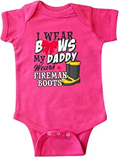I Wear Bows My Daddy Wears Fireman Boots Infant Creeper