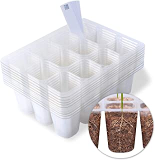 MIXC Seedling Starter Trays 120 Cells Transparent Seed Tray Grow Germination Kit with 10 Plant Lables(10 Trays, 12 Cells per Tray, 1.5 inch)