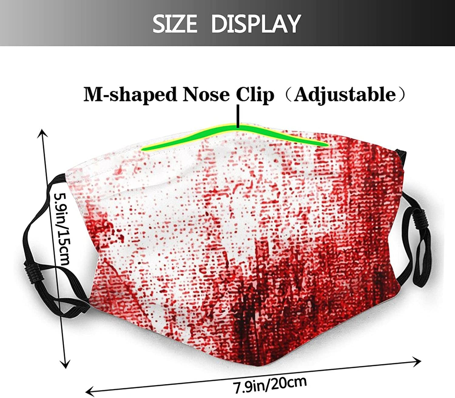 PIECERY Bloodied Halloween Face Mask Scarf,Reusable Breathable Cloth Mouth Masks Balaclavas for Male and Female Adult