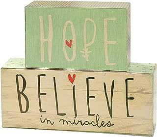 Hope Believe in Miracles Vintage Wallpaper 5 x 6 Wood Block Table Top Plaque Sign