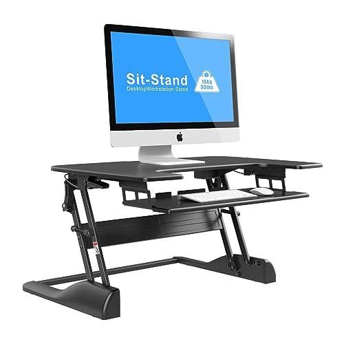 1home Bureau D'ordinateur Table Hauteur Ajustable à 2 Ecrans Plate PC Assis-Debout Stantion à Verni Noir