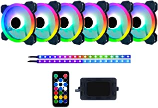 Apevia TL612L2S-RGB Twilight 120mm Silent Dual-Ring Addressable RGB Color Changing LED Fan with Remote Control, 28x LEDs &...