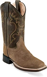 Old West Jama Corporation Boys Kids Suede Tan Foot with Olive Green Shaft Square Toe Boots
