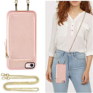 ZVE Wallet Case for Apple iPhone 8 and iPhone 7, 4.7 inch, Leather Wallet Case with Crossbody Chain Credit Card Holder Slot Zipper Pocket Purse Wrist Strap Case for Apple iPhone 8/7 - Rose Gold