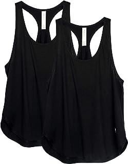icyzone Camiseta sin Mangas de Fitness para Mujer Chaleco Deportivo, Pack de 2