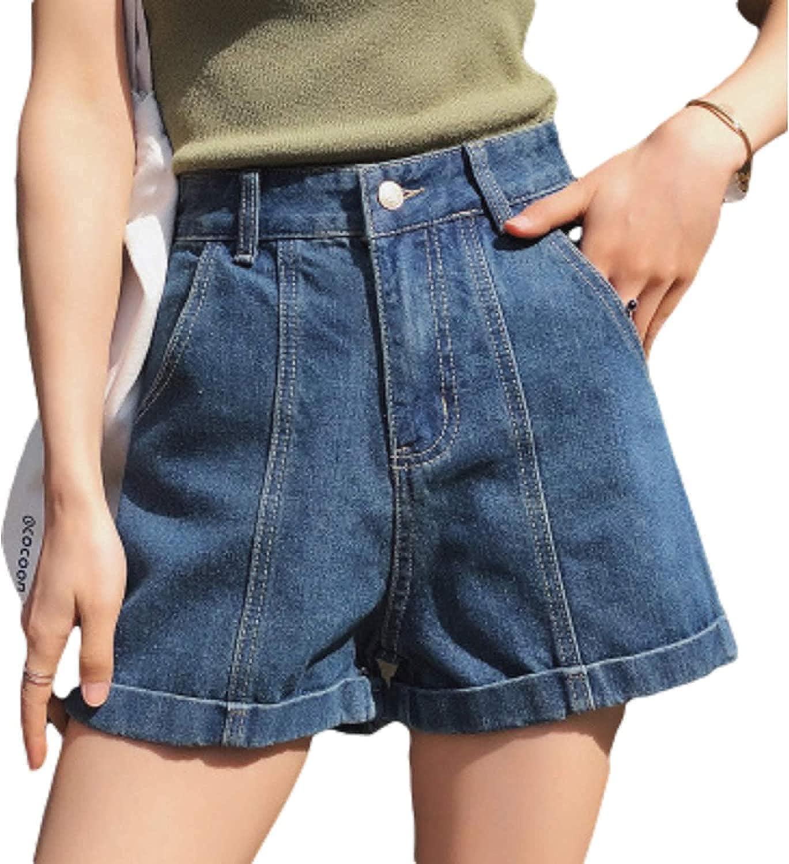 Women's Juniors Denim Shorts Mid Rise Wide-Leg All-Match Splicing Crimping